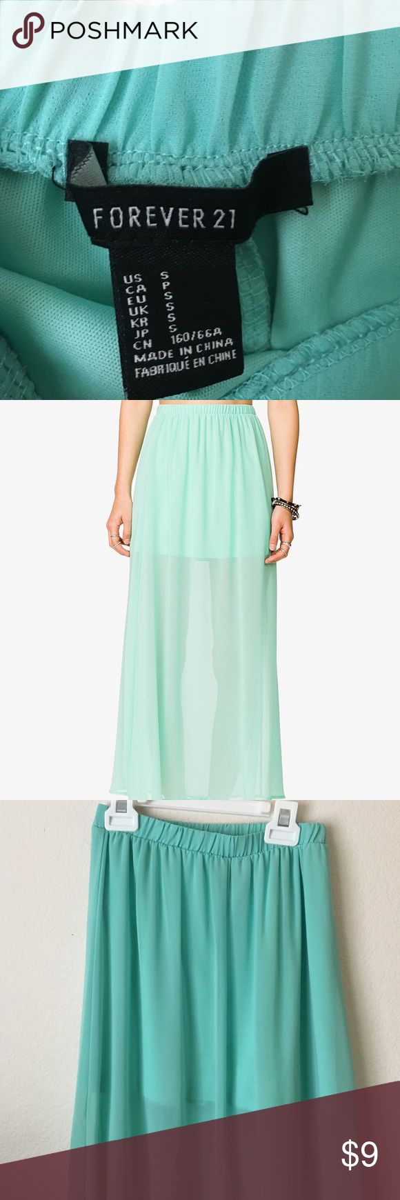 Mint Maxi Skirt Size Small Mint Maxi Skirt. From Forever 21. Super cute and boho. Great with sandals and a cute tank top. Forever 21 Skirts Maxi