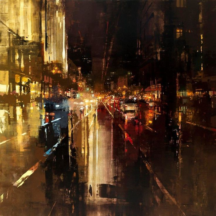 Evening Rains Downtown - 48 x 48 inches - Oil on Panel - 8/2011 - Jeremy Mann