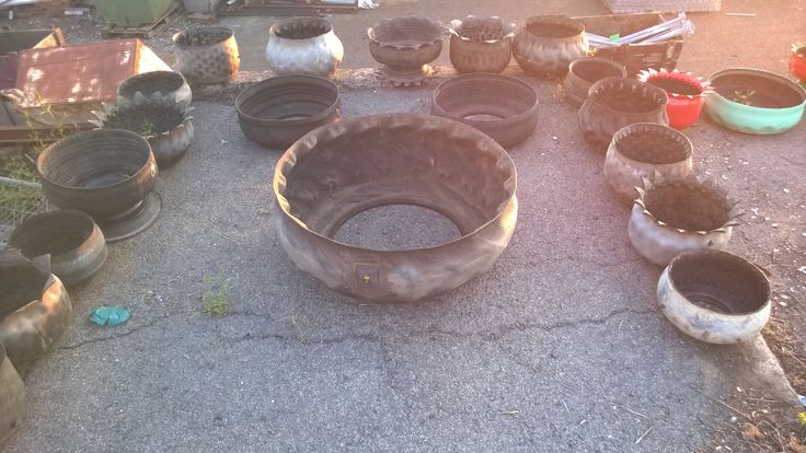 flipped recycled tires, painted and reusable