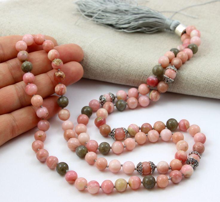 Tassel Long necklace with tassel Dlugi naszyjnik z chwostem Pink opal/opal różowy
