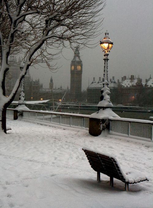 London in the winter snow