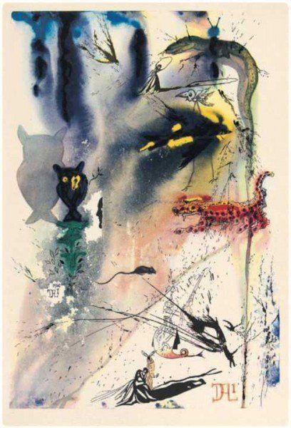 Alice no País das Maravilhas sobre os traços de Salvador Dali