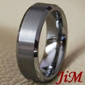 Matte Tungsten Ring Wedding Band Mens Bridal Jewelry Titanium Color Size 6-15 #JiM #Band