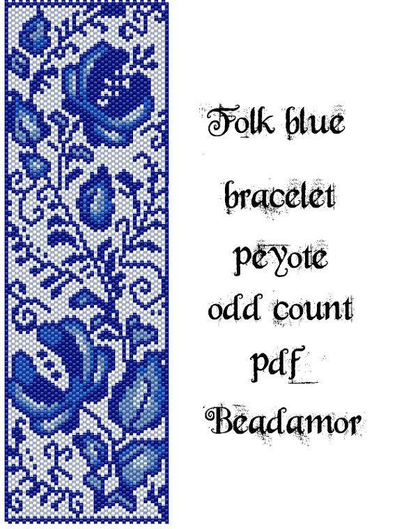 Peyote Pattern for bracelet: Folk Blue- INSTANT DOWNLOAD pdf More