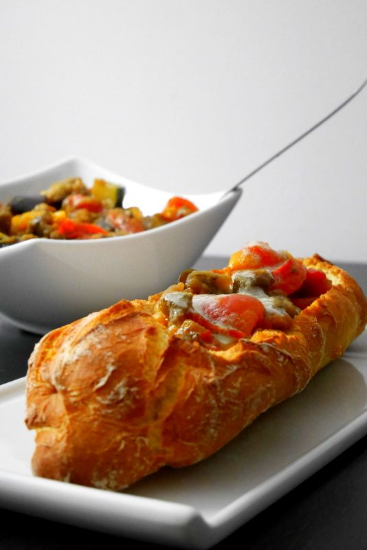 Ratatouille in bread crust with Roquefort sauce