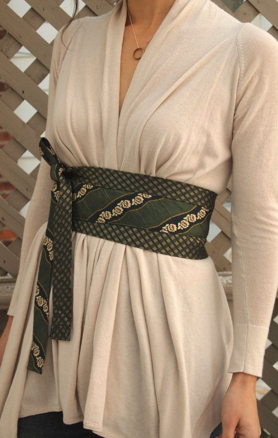 Rose verde  riciclata cravatta di seta Obi cintura corsetto