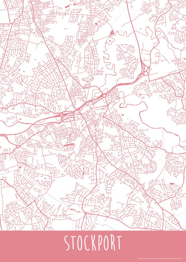 Stockport Town England Art Map Roads Print - Your Places by ILLAstudio on Etsy https://www.etsy.com/listing/223857560/stockport-town-england-art-map-roads