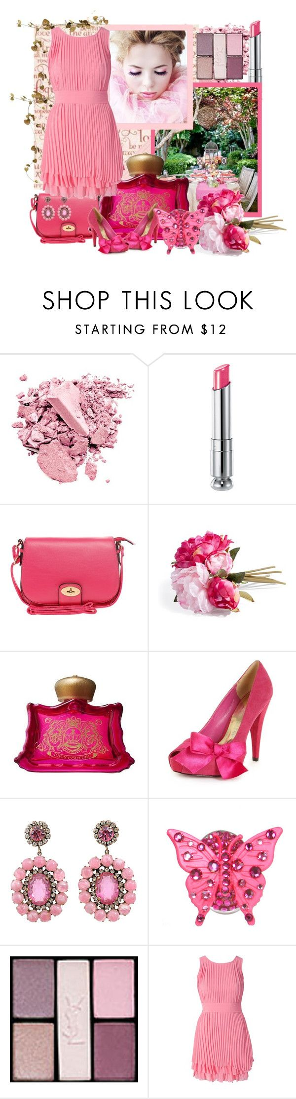 """""""Sweet Pink Peony"""" by pixidreams ❤ liked on Polyvore featuring Christian Dior, ALDO, Juicy Couture, Paris Hilton, Kenneth Jay Lane, Tarina Tarantino, Yves Saint Laurent, Lipsy, sixties earrings and shoulder bag"""