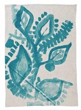 Abstract Floral Green Tea Towel | Bonnie and Neil – Salt Living or online at www.saltliving.com.au #saltliving #bonnieandneil #screenprinting #linen #teatowel