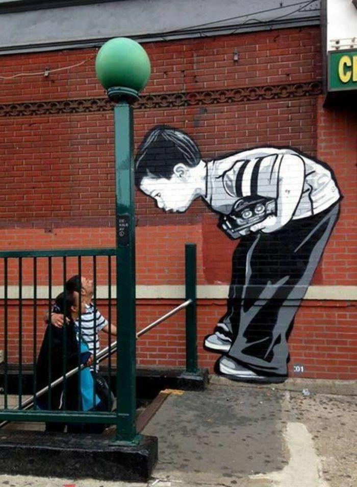 Les graffitis pochoir mural street art