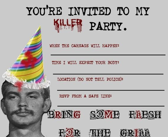 """Killer"" Party Invitation, featuring Jeffrey Dahmer"