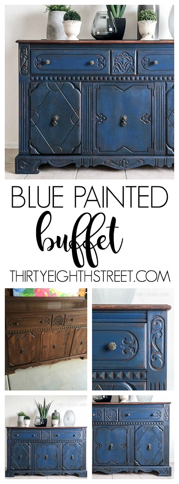 Blue Painted Buffet Makeover! Stunning furniture makeovers using color! Blue Painted Furniture  Ideas. Before and After Furniture. Chalk Painted Furniture. DIY Furniture Ideas!