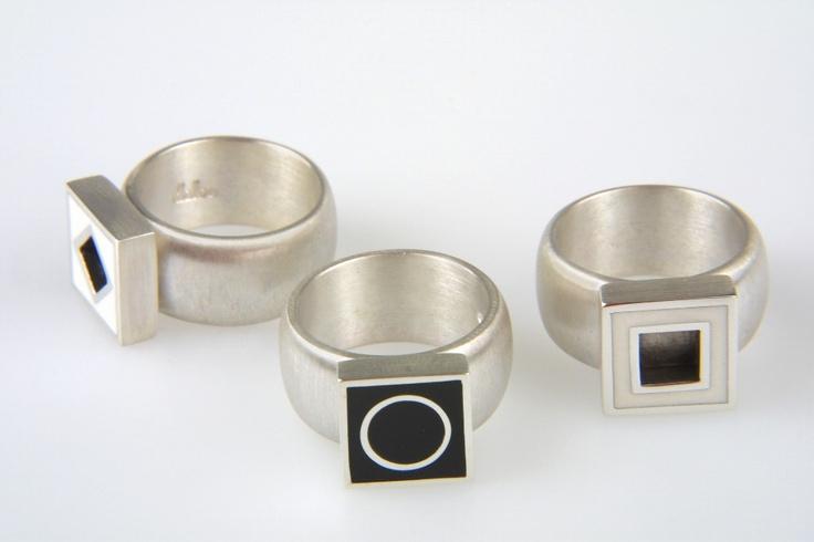 prsteny - rhodiované stříbro, akryl