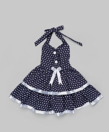 Love this Black & White Polka Dot Halter Dress - Toddler & Girls on #zulily! #zulilyfinds