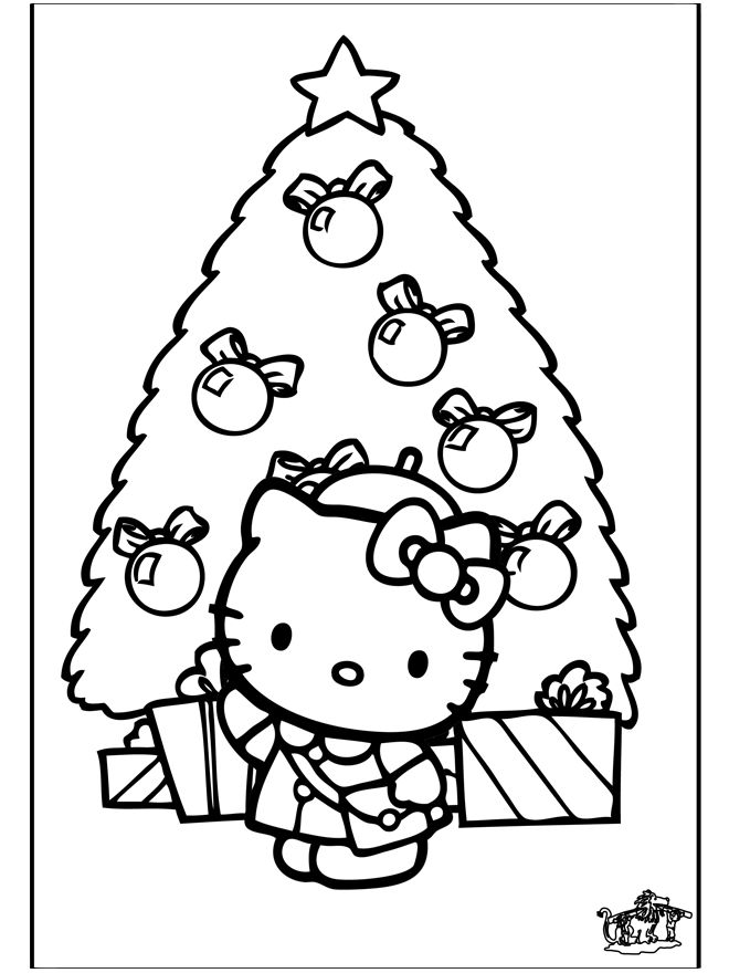 Christmas Tree Hello Kitty Coloring Page