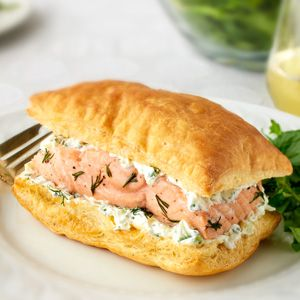Pepperidge Farm® Puff Pastry: Salmon with Cucumber-Dill Cream Napoleons [i really like the Napoleons technique ... and the dill sauce .... salmon, not so much]