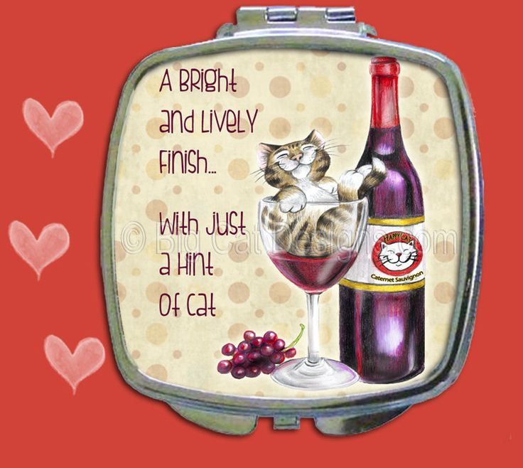 COMPACT MIRROR - Drunk Cat with Wine Bottle and Wine Glass by bigcatdesigns on Etsy