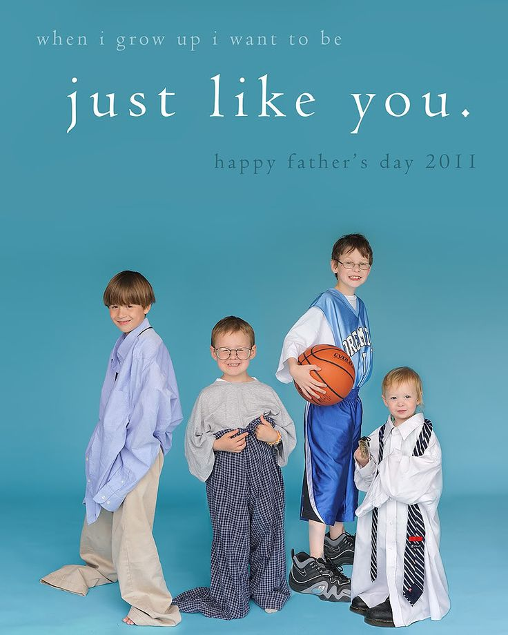 Father's Day card idea: have the kids dress in their dad's clothes for a picture.