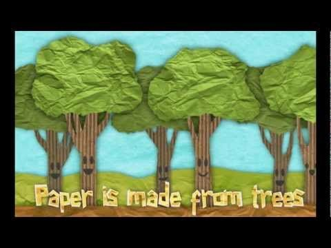 animated video: How Paper Is Made with environmental message.