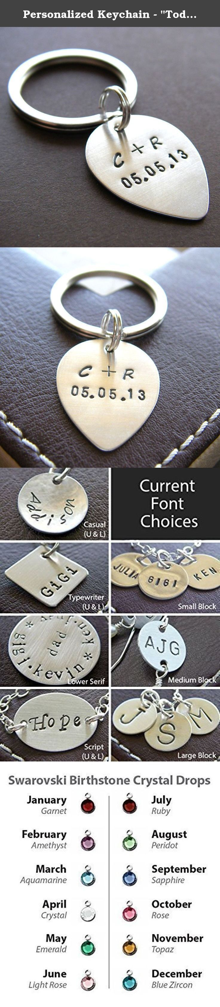 "Personalized Keychain - ""Today is the Day"" Mini Guitar Pick Key Chain - Hand Stamped Sterling Silver. This personalized key chain makes a perfect gift! A 3/4"" sterling silver disc is stamped with a monogram and attached to a 24 mm silver plated key ring. You can personalize it with an initial, names, or any words of your choice. The most appropriate font for your jewelry will partially depend upon the size of the charm. Examples of the following fonts can be seen above. For simple…"