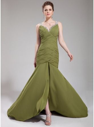 Trumpet/Mermaid Sweetheart Court Train Chiffon Evening Dress With Ruffle Beading Sequins