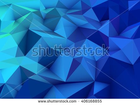Blue abstract geometric, low poly style vector illustration graphic background