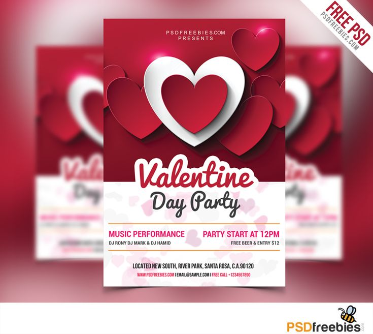 Download Valentine Day Party Flyer Free PSD. Valentines Day Flyer Template is very modern psd flyer that will give the perfect promotion for your upcoming special Vday event or nightclub party! All Elements are in separate layers and text is fully editable! Easy to changes colors, styles and edit text.