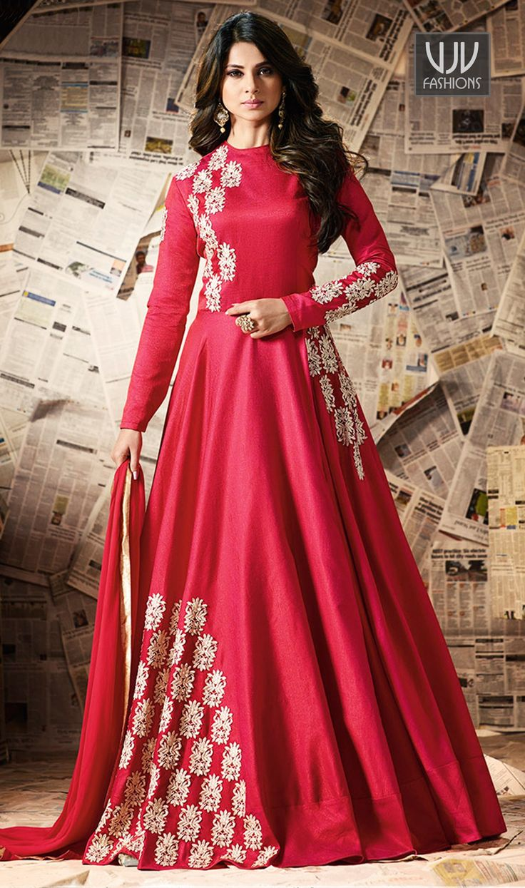 Jennifer Winget Pink Color Silk Designer Anarkali Suit  Make an adorable statement in this Jennifer Winget hot pink color silk designer anarkali salwar suit. This beautiful attire is showing some amazing embroidery done with resham, patch border and embroidered work.