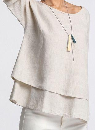 Solid Casual Cotton Linen Round Neckline Long Sleeve Blouses - Floryday @ floryday.com