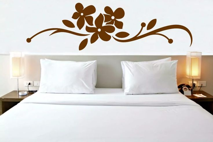 Armario Sob Medida Quarto ~ adesivo de parede cabeceira de cama solteiro arranjo flores Adesivos Cabeceira de Cama