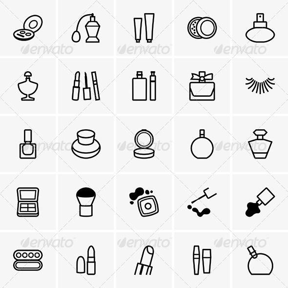 Cosmetics Icons ...  beauty, brush, can, cleaning, cosmetics, cream, design, icon, lady, lipstick, makeup, perfume, pictogram, powder, set, symbol