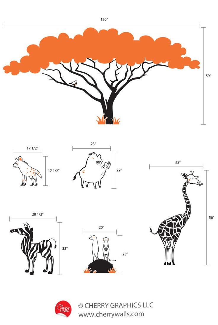 Safari themed wall decals. Nursery decal stickers giraffe, acacia tree, zebra, cute warthog and hyena, meerkats wall stickers. $224.00, via Etsy.