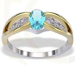 Pierścionek z białego i żółtego złota z topazem i diamentami / Ring made from white and yellow gold with a topaz and diamonds / 1 552 PLN / #ring #gold #zloto #pierscionek #bizuteria #jewelry #jewellery #diamonds #engagement_ring
