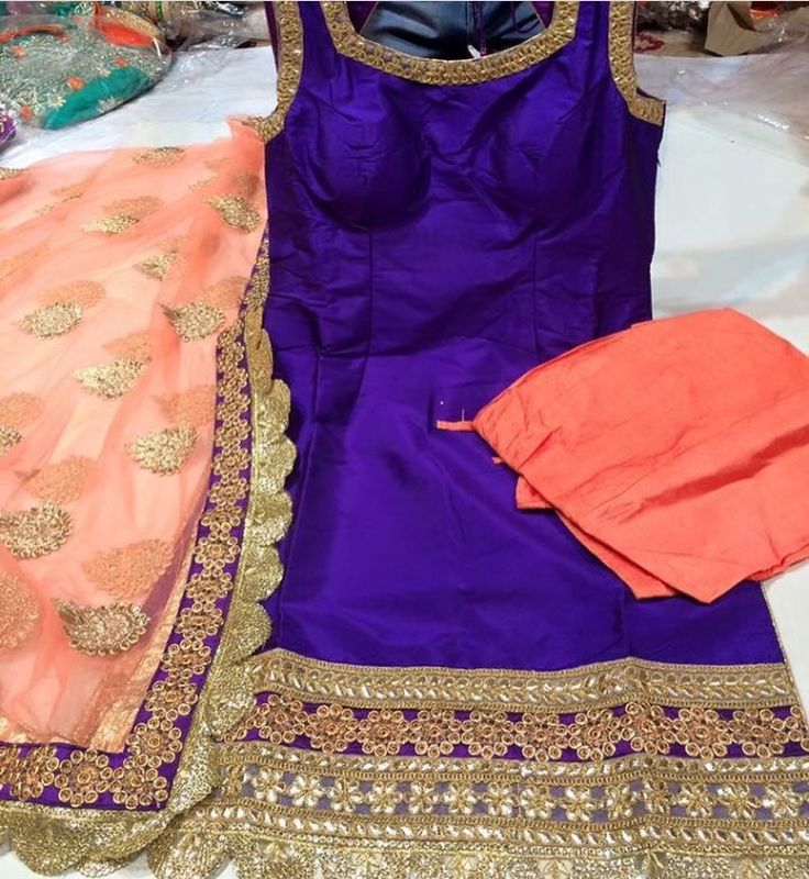 Loving this royal purple and peach combination for summer! Suit by Phulkari Couture.
