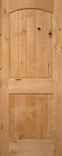 """Classic rustic interior door. 6'8"""" 2-Panel Arch V-Groove Knotty Alder Interior Wood Door Slab"""