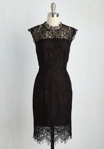 You're the talk of the party when you showcase your moves in this black dress. As you take the dancefloor by storm, the high neckline, scalloped hem, and floral lace of this ModCloth-exclusive sheath flatter your every wiggle and waltz - earning compliments galore!