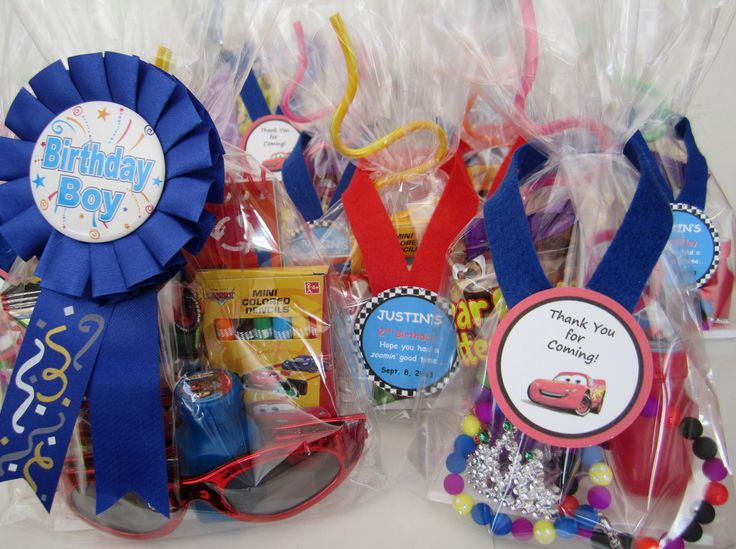 boys and girls Cars themed loot bags,  created by Davis Floral Creations
