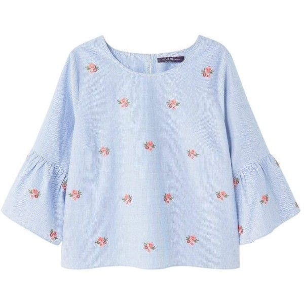 Violeta BY MANGO Floral embroidery blouse (785 ARS) ❤ liked on Polyvore featuring tops, blouses, shirts, bell sleeve blouse, cotton blouse, embroidery blouses, embroidered blouse and blue shirt