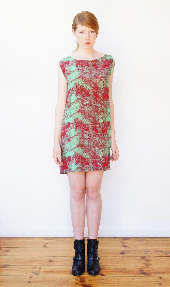 Crepe de chine silk red shimmer shift dress OM Label