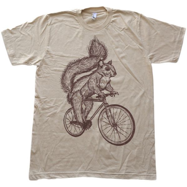 Mens Squirrel Art Bicycle Print Animal Artwork Short Sleeved American... ($24) ❤ liked on Polyvore featuring men's fashion, men's clothing, men's shirts, men's t-shirts, silver, t-shirts, tops, women's clothing, print t shirts and cotton shirts