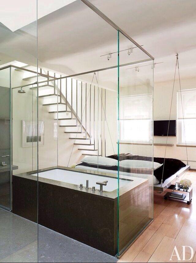 Open Concept Bedroom Bathroom Home Pinterest
