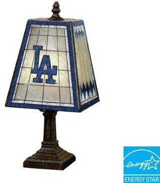 Novelty Lamps: MLB 14 in. Los Angeles Dodgers Art Glass Table Lamp MLB LAD 462 - contemporary - Sports And Game Room Memorabilia - Home Depot