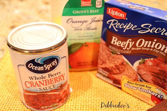 Crockpot turkey recipe with orange juice, lipton soup packent and cranberry sauce.