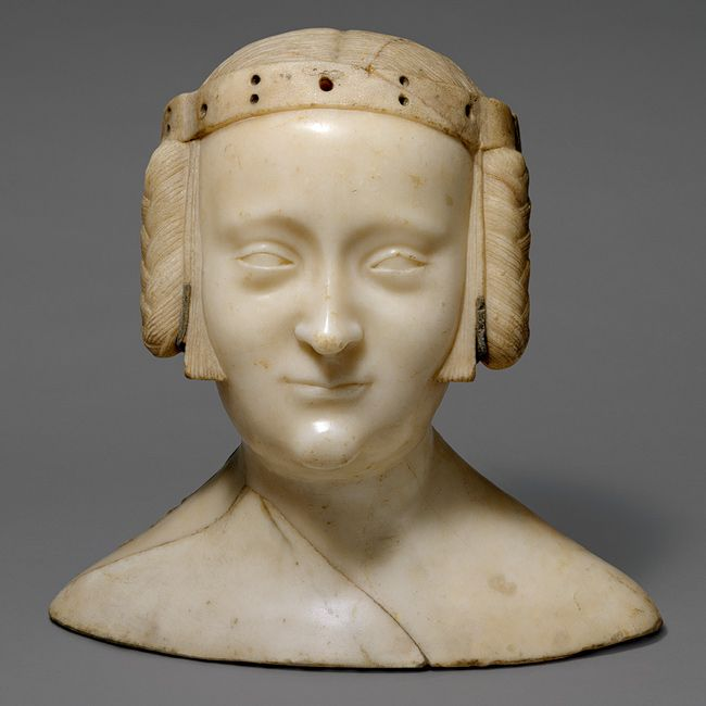 Bust of Marie de France, ca. 1381  Jean de Liège (Franco-Netherlandish, ca. 1330–1381)  Île-de-France, Saint-Denis, Abbey Church of Saint-Denis, Chapel of Notre-Dame-la-Blanche  Marble, lead insets, traces of polychromy    Overall (without base): 12 1/4 x 12 3/4 x 6 3/16 in. (31.1 x 32.4 x 15.7 cm); overall (with base): 14 1/16 x 14 5/8 x 6 5/8 in. (35.7 x 37.1 x 16.8 cm); base: 2 1/8 x 14 5/8 x 6 5/8 in. (5.4 x 37.1 x 16.8 cm)  Gift of George Blumenthal, 1941 (41.100.132)