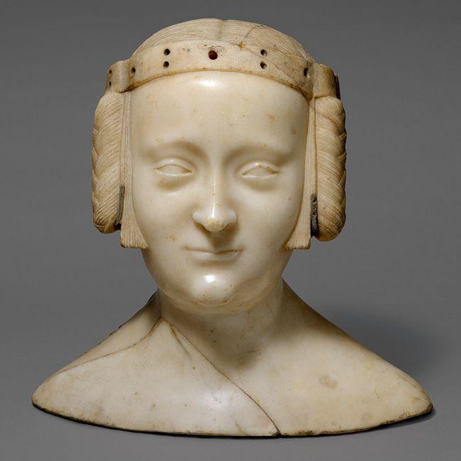 Bust of Marie de France, ca. 1381  Jean de Liège (Franco-Netherlandish, ca. 1330–1381)  Île-de-France, Saint-Denis, Abbey Church of Saint-Denis, Chapel of Notre-Dame-la-Blanche  Marble, lead insets, traces of polychromy