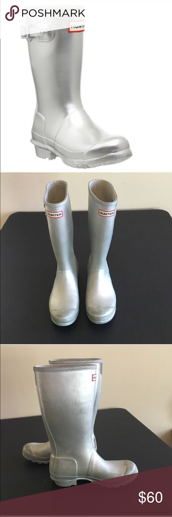 Hunter Boot Silver Wellies Size US 7 Hunter Boots in silver! They have been worn and the heels are slightly worn in but they are still in good condition otherwise! Hunter Boots Shoes Winter & Rain Boots
