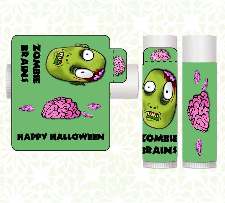 Lip Balm Labels - Halloween Lip Balms, Halloween Favors, Classroom Treats, Halloween Party Favors, Candy Alternative, Halloween Zombie by LittlePrintsOttawa on Etsy
