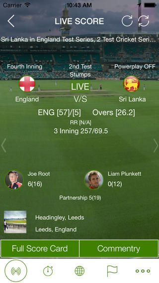 Live Cricket score card.
