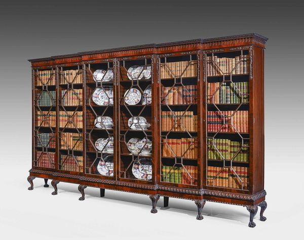 Chippendale Style Triple Breakfront Bookcase Ref No 6808