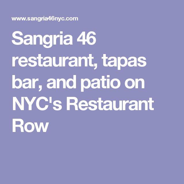 Sangria 46 restaurant, tapas bar, and patio on NYC's Restaurant Row